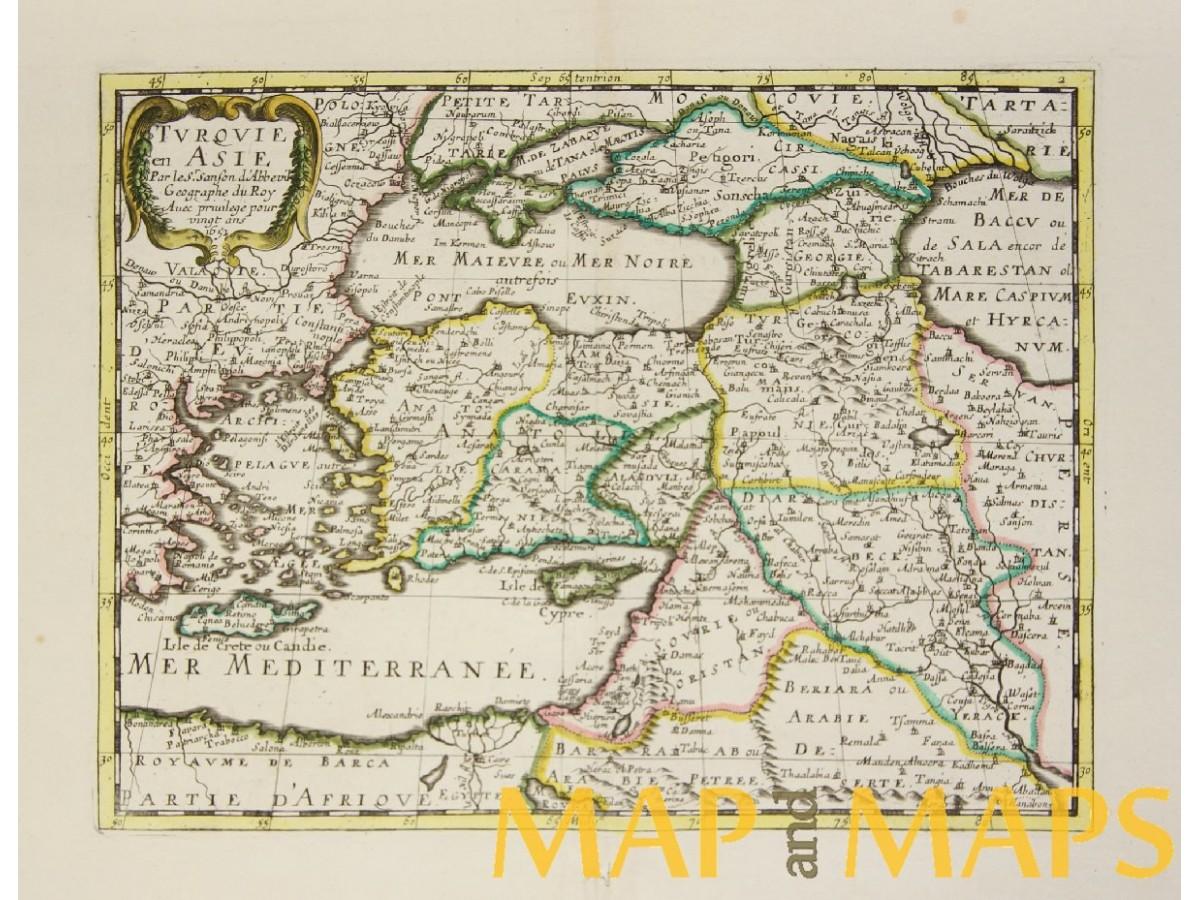 Turquie En Asie… Sanson antique map 1652 - Mapandmaps