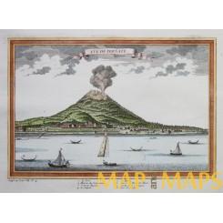 LARGE ANTIQUE PRINT MOUNT GAMALAMA TERNATE MOLUCCAS VUE DE TERNATE BELLIN c1750