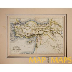 Turkey Syria old map with Cyprus by Delamarche 1838