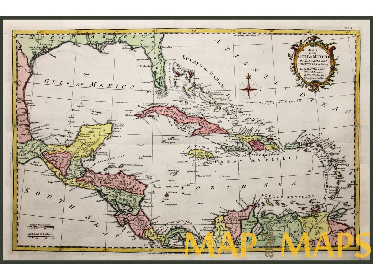 ANTIQUE MAP OF THE GULF OF MEXICO FLORIDA CUBA BAHAMAS BY KITCHIN