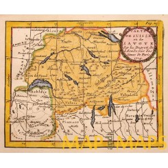 CARTE DE SUISSE ET DE SOVOYE Switzerland antique map by Buffier 1714