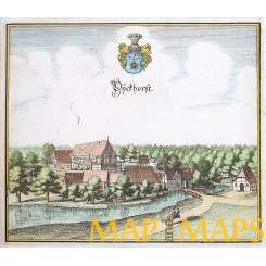Dieckhorst bei Müden/Gifhorn Germany Original copper engraving by Merian 1654