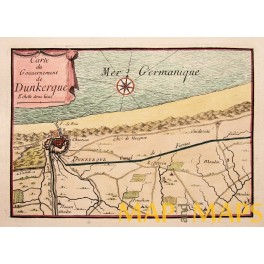 plan dunkerque dunkirk duinkerken france old map by beaulieu 1688. Black Bedroom Furniture Sets. Home Design Ideas