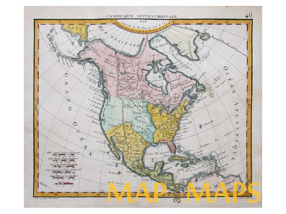 LAmerique Septentrionale Herisson  Mapandmaps - Old maps of america