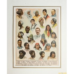 People of the world OLD PRINT Nubian Arabia India Japanese Congolese Georgia
