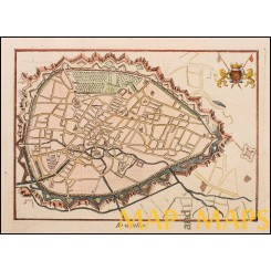 Brussels Belgium Bruxelles antique tow plan anonymous c.1780