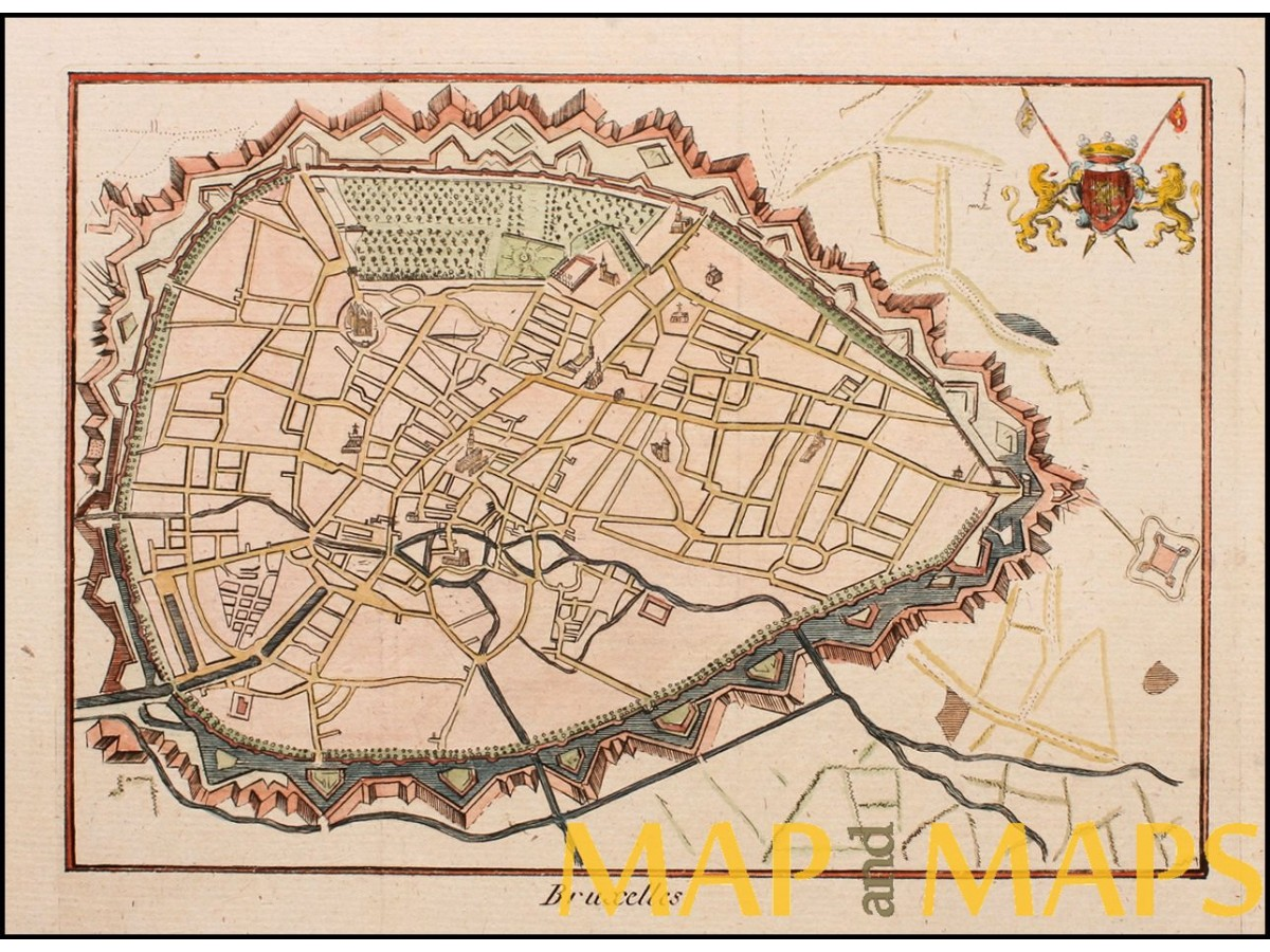brussels belgium bruxelles antique tow plan anonymous c1780