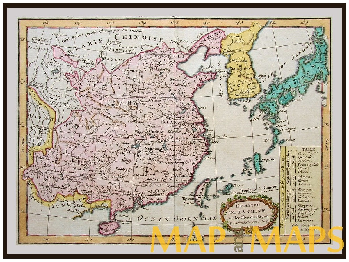 China old map japan korea la porte 1783 mapandmaps antique map lempire de la china formosa korea japan by la porte loading zoom gumiabroncs Choice Image