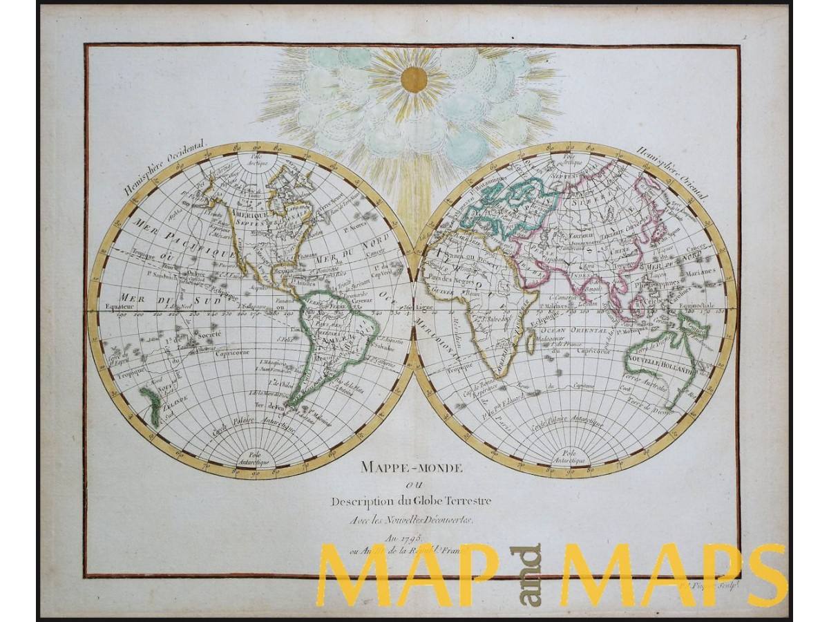 globe terrestrial antique map delamarche mapandmaps. Black Bedroom Furniture Sets. Home Design Ideas