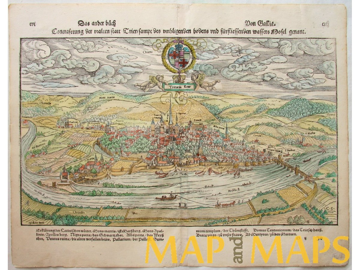 ANTIQUE WOODCUT GERMANY TRIER IN SEBASTIAN MUNSTER Map - Germany map munster