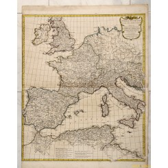LARGE ANTIQUE MAP OF EUROPE ORBIS ROMANI by ANVILLE 1763