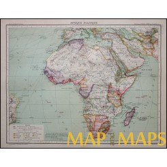 Antique Colonial map of Africa by Schrader 1893.