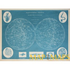 PLANISPHERE CELESTE  ANTIQUE MAP BY DRIOUX 1890