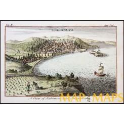 SCALANOVA-NEAR SMYRNA-OTTOMAN PRINT-KUCH ADASSI-ANTIQUE PRINT-TOURNEFORT 1717