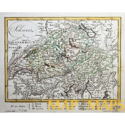 ANTIQUE MAP SWITZERLAND SCHWEIZ CANTONS OLD ENGRAVING BY WALCH 1812