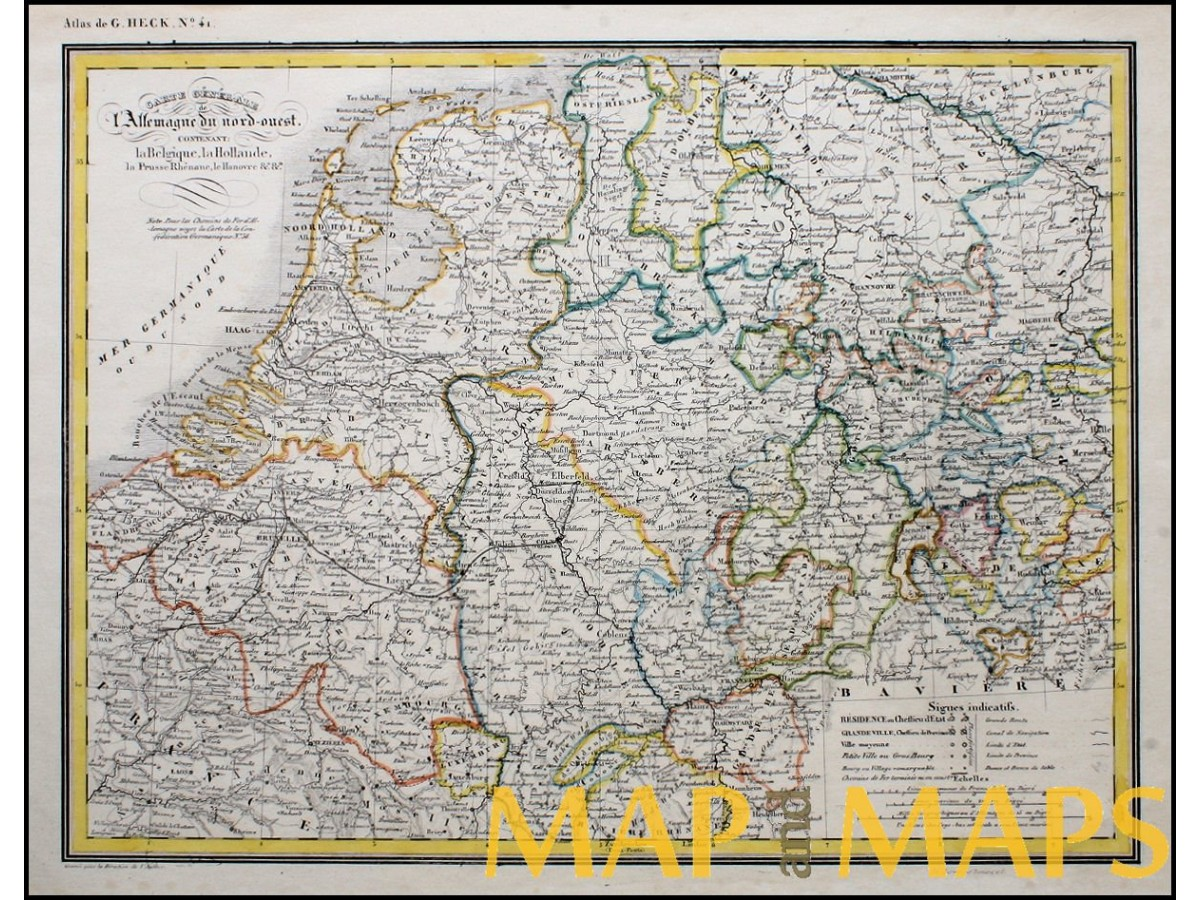 germany holland belgium luxembourg antique map heck 1842