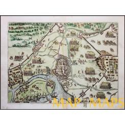 SIEGE OF RYNBERK, RHEINBERG, RHINE-WESTPHALIA, GERMANY. JOHANNES JANSSONIUS 1651