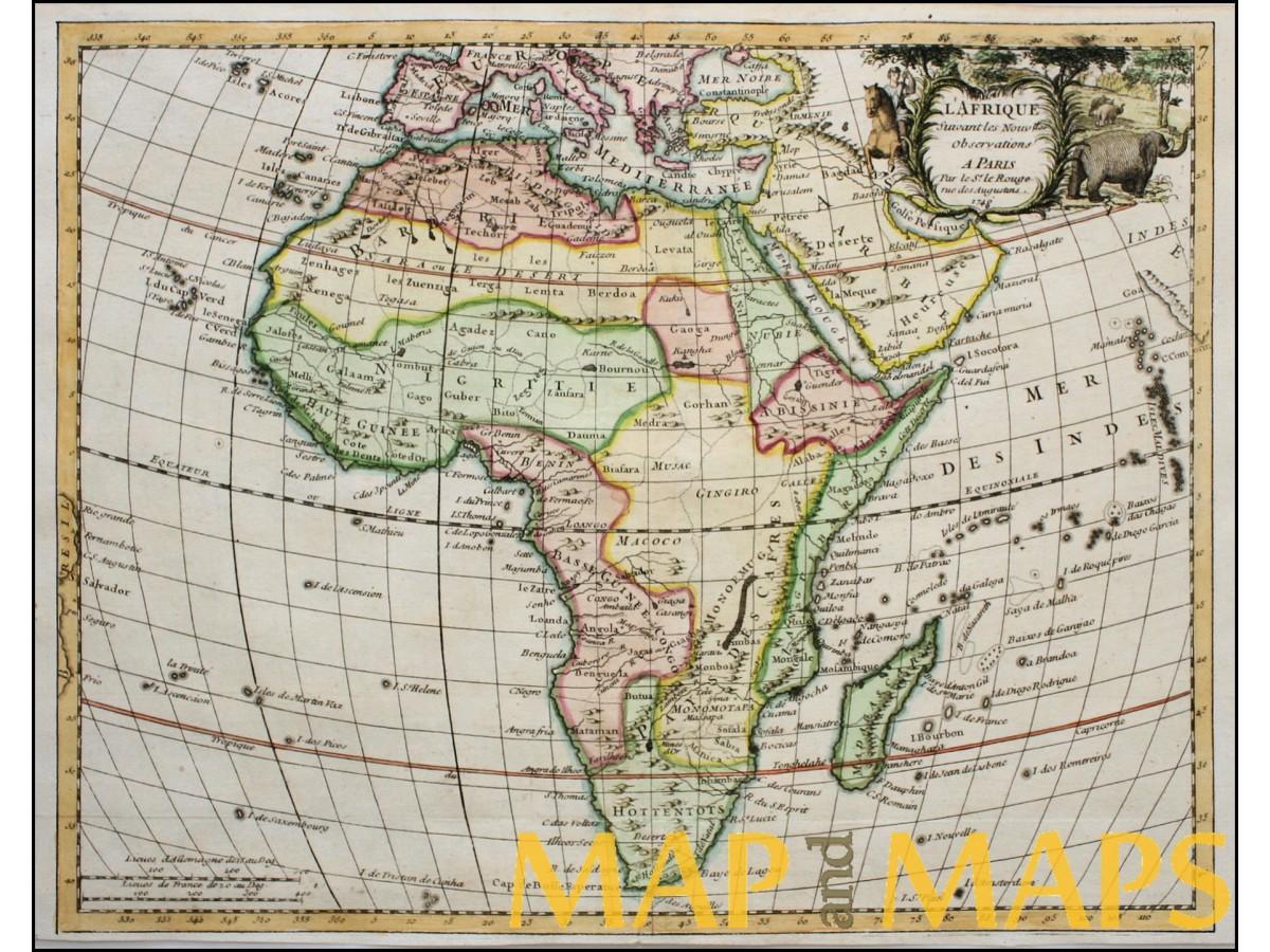 Africa hottentots egypt lafrique antique map le rouge 1743 africa hottentots egypt lafrique antique map le rouge 1743 gumiabroncs Images