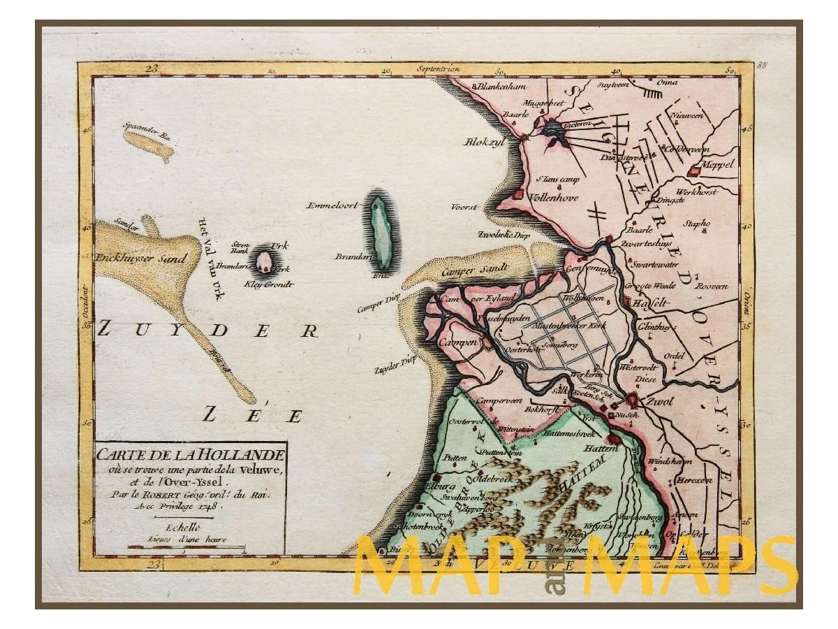 ANTIQUE MAP HOLLAND URK ZUIDER ZEE ZWOLLE CARTE DE LA HOLLANDE