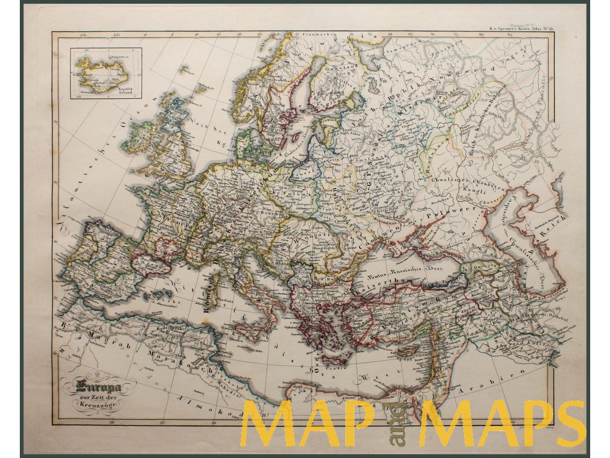 Antique map Europe at the time of the Crusades by Karl Spruner