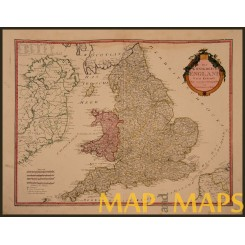 ANTIQUE MAP KINGDOM ENGLAND AND WALES BY FRANZ VON REILLY 1795