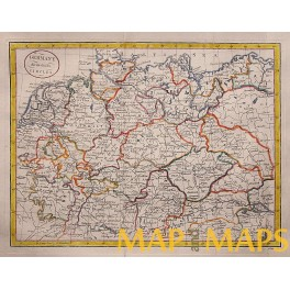 germany states antique old map by j cary 1800