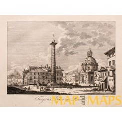 Trajan's Column at Rome, Italy, Old antique print Bankes 1780