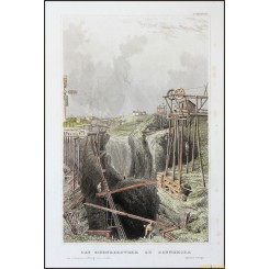 DANNEMORA, SWEDEN, THE IRON MINE, OLD PRINT BY MEYERS 1852