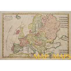 Antique map of Europe,Poland  Old copper plate map by Rigobert Bonne 1787