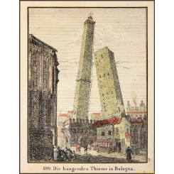 Antique print, The Hanging towers in Bologa, Italy1834