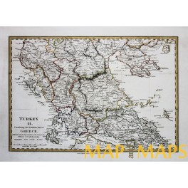 NORTH GREECE MACEDONIA TURKEY IN EUROPE ANTIQUE MAP BADWIN ...