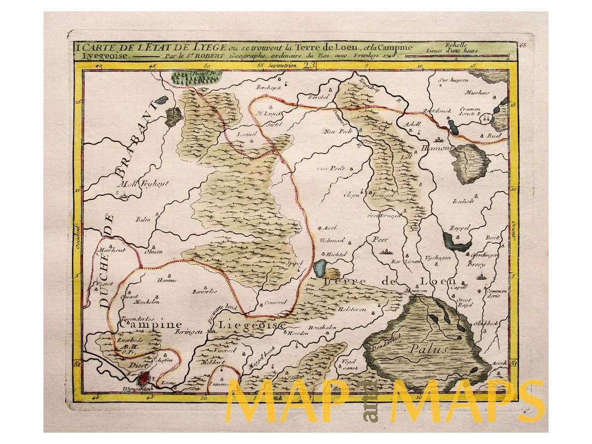 campinekempen liege belgium 1748 antique map vaugondy loading zoom