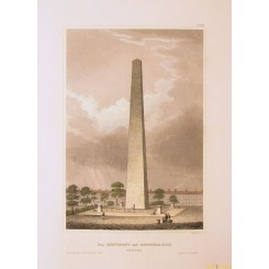 Obelisk of Boston Bunker Hill old print 1850