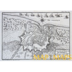 Dunkirk France Antique engraving 1768 PLAN DE LA VILLE DE DUNKERQUE
