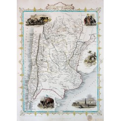 CHILI AND LA PLATA antique map hand colored by Tallis 1850