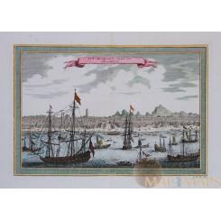 VUE DE QUANG-CHEU-FU OU CANTON Old print Guangzhou China V.O.C. BELLIN 1766