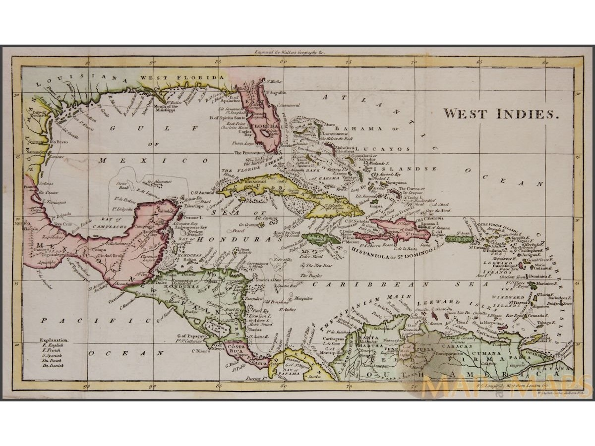 West indies antique map caribbean cuba florida walker 1810 west indies antique map caribbean cuba florida walker 1810 gumiabroncs Image collections