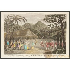 Captain Wallis welcomed by Queen Oberea of Otaheite at Tahiti - George Anson 1784