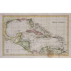 Caribbean-Cuba-Florida- Antique map WEST - INDIES Walker 1810
