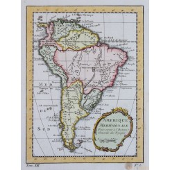 AMERIQUE MERIDIONALE antique map of South America by bellin 1754