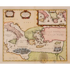 THRACIAE VETERIS TYPUS Old Map Ancient Greece Mediterranean Janssonius 1677