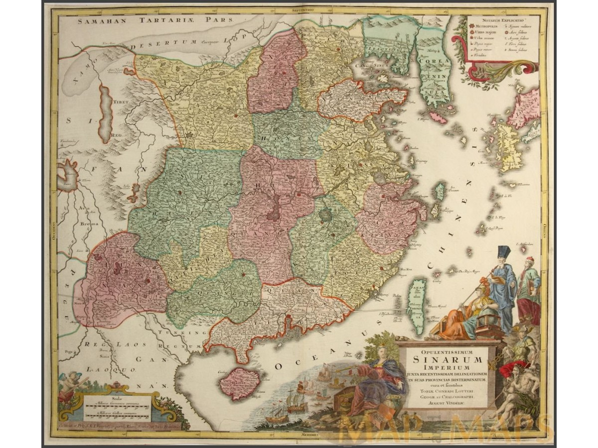 Opulentissimum sinarum imperium old map china korea taiwan lotter c opulentissimum sinarum imperium old map china korea taiwan lotter c1740 gumiabroncs Image collections