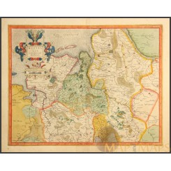 WESTFALIA CUM DIOCESI BREMENSI Old map East Friesland Germany Mercator 1623