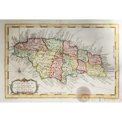 CARTE DE L' ISLE DE LA JAMAIQUE antique atlas map Jamaica BELLIN 1758