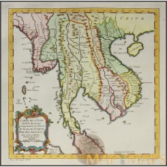 Carte de L'Inde au dela du Ganges Royaumes de Siam Old map BELLIN 1747