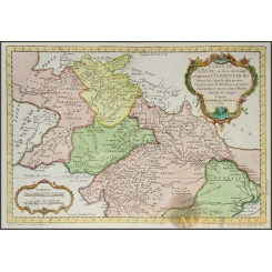 CARTE DE L'INDE en deca du Gange Old map INDIA Hindustan Bangladesh BELLIN 1752