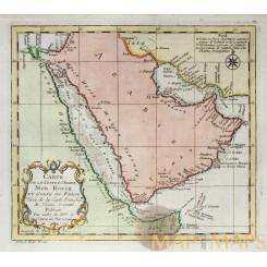 CARTE DE LA COSTE D'ARABIE Old map Arabia Red sea and gulf of Persia BELLIN 1740