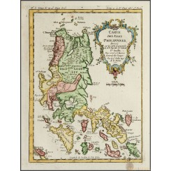 CARTE DES ISLES PHILIPPINES Old map ISLANDS PHILIPPINES BELLIN 1757