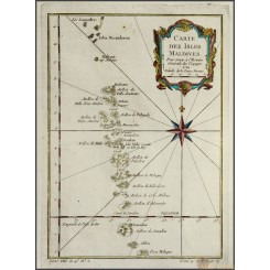 CARTE DES ISLES MALDIVES Old map ISLANDS PHILIPPINES BELLIN 1750
