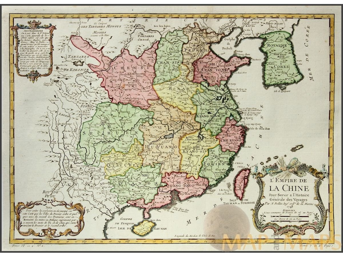 L empire de la chineold map china bellin 1748 mm lempire de la chine old map china macau korea taiwan bellin 1748 loading zoom gumiabroncs Gallery
